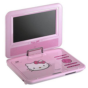 buy hello kitty portable dvd player at home bargains. Black Bedroom Furniture Sets. Home Design Ideas