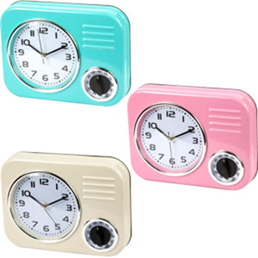 Buy Retro Wall Clock With Timer At Home Bargains