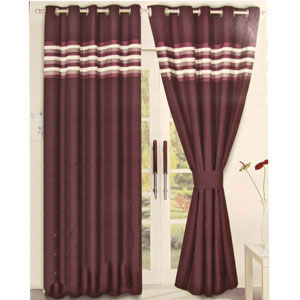 Buy Fully Lined Curtains Ribbon Bands Aubergine 167 X