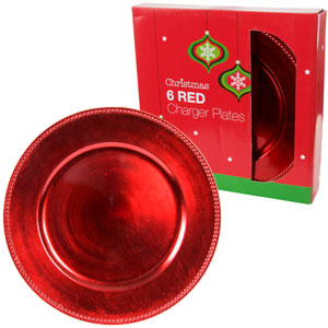 Buy Christmas Charger Plates Set Of 6 Red At Home Bargains
