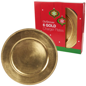 Buy Christmas Charger Plates Set Of 6 Gold At Home Bargains