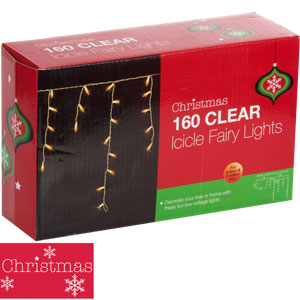 buy christmas 160 clear icicle fairy lights at home bargains. Black Bedroom Furniture Sets. Home Design Ideas