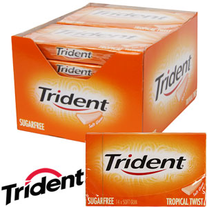 Picture of Trident Sugarfree Gum: Tropical Twist (Case of 12 Packs)