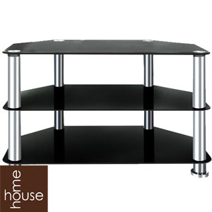 Buy House Home Black Glass 42 Tv Stand Large At Home Bargains