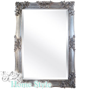 Buy silver ornate mirror 90 x 60cm at home bargains for Mirror 90 x 60