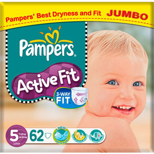 Buy Pampers Active Fit Nappies Jumbo Pack 62 X 5 Junior