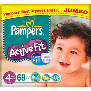 Buy Pampers Active Fit Nappies Jumbo Pack 68 X 4 Maxi