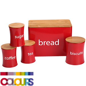 Buy Colours 5 Piece Kitchen Storage Set Red At Home Bargains