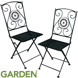 Buy Mosaic Bistro Garden Chairs Black At Home Bargains