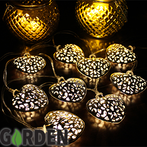 Metal Heart String Lights : Buy Solar Powered Garden String Lights: Metal Heart at Home Bargains