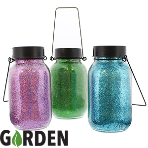 Buy Garden Solar Glitter Jars Case Of 12 At Home Bargains