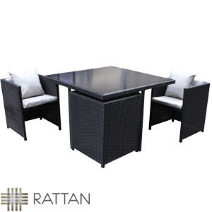 picture of rattan effect 4 seat cube garden set