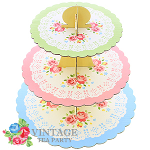 Buy Vintage Tea Party 3 Tier Cake Stand (Case of 24) at Home Bargains