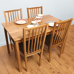 Picture Of Oxford Oak Dining Table Chairs Set