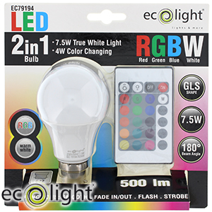 Buy Ecolight Remote Control Colour Change Led Bulb B22 At Home