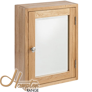buy hampton solid oak mirrored bathroom cabinet at home bargains