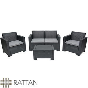 Buy Alabama Anthracite Rattan 4 Seater Patio Set At Home Bargains