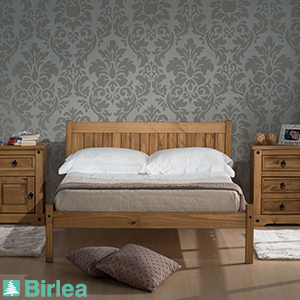Buy birlea rio waxed pine bed frame at home bargains for Wallpaper home bargains