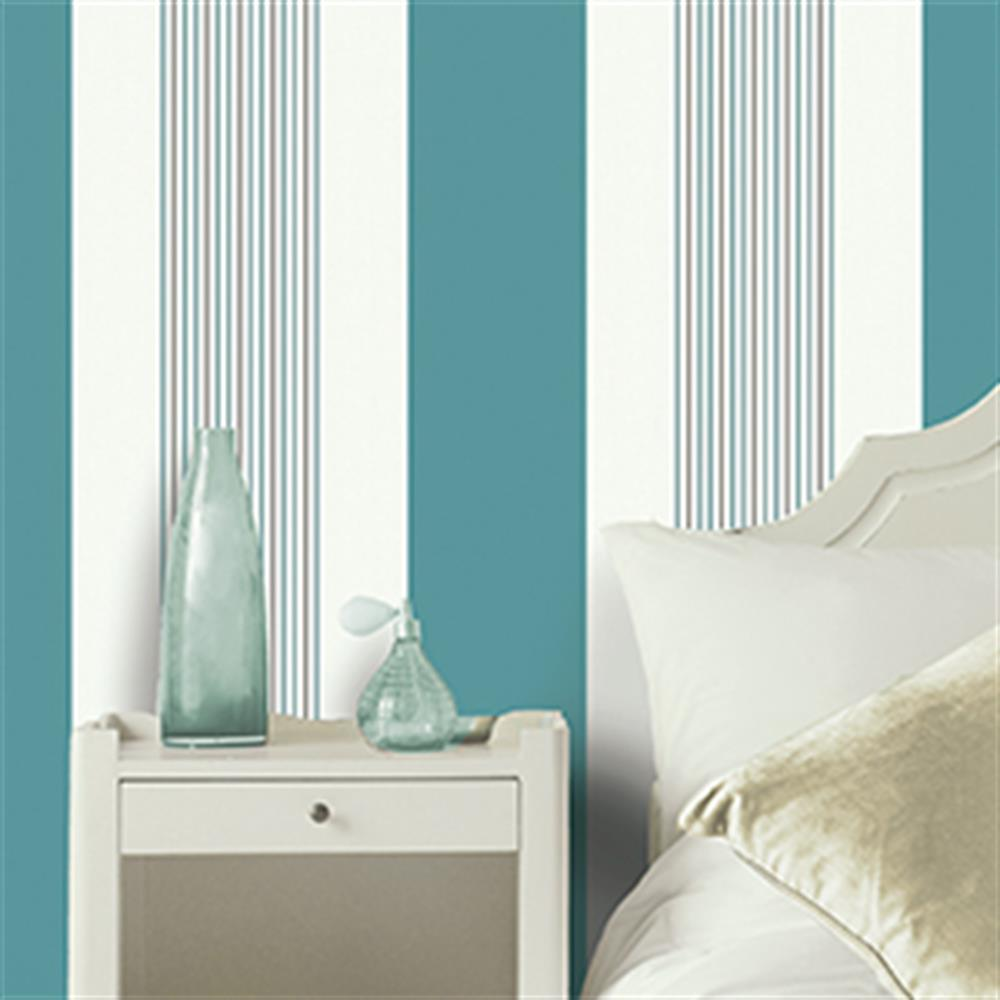 Picture of K2 Textured Wallcovering: Akina Stripe Teal