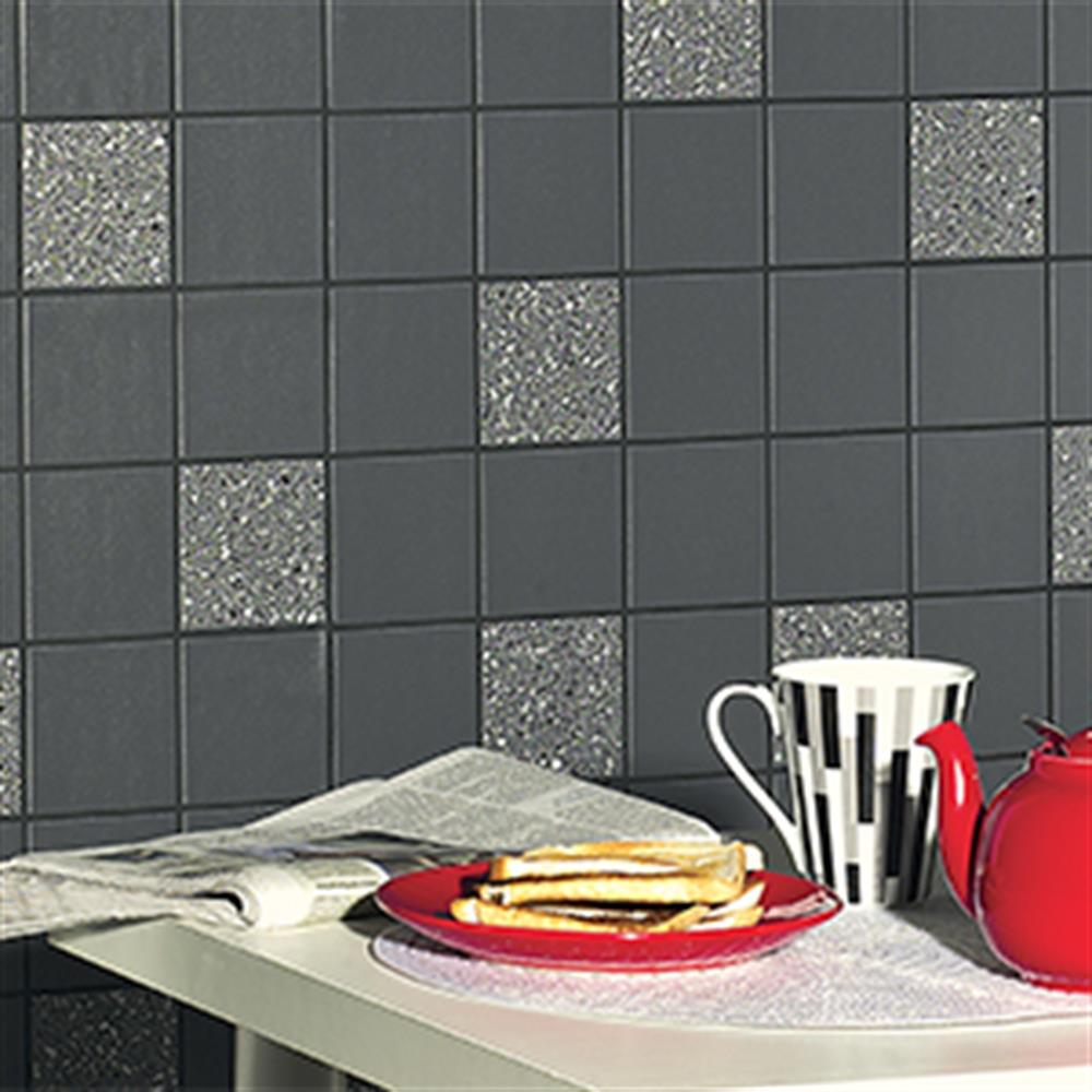 Picture of Tiling on a Roll: Quartz Black & Silver Glitter Tile