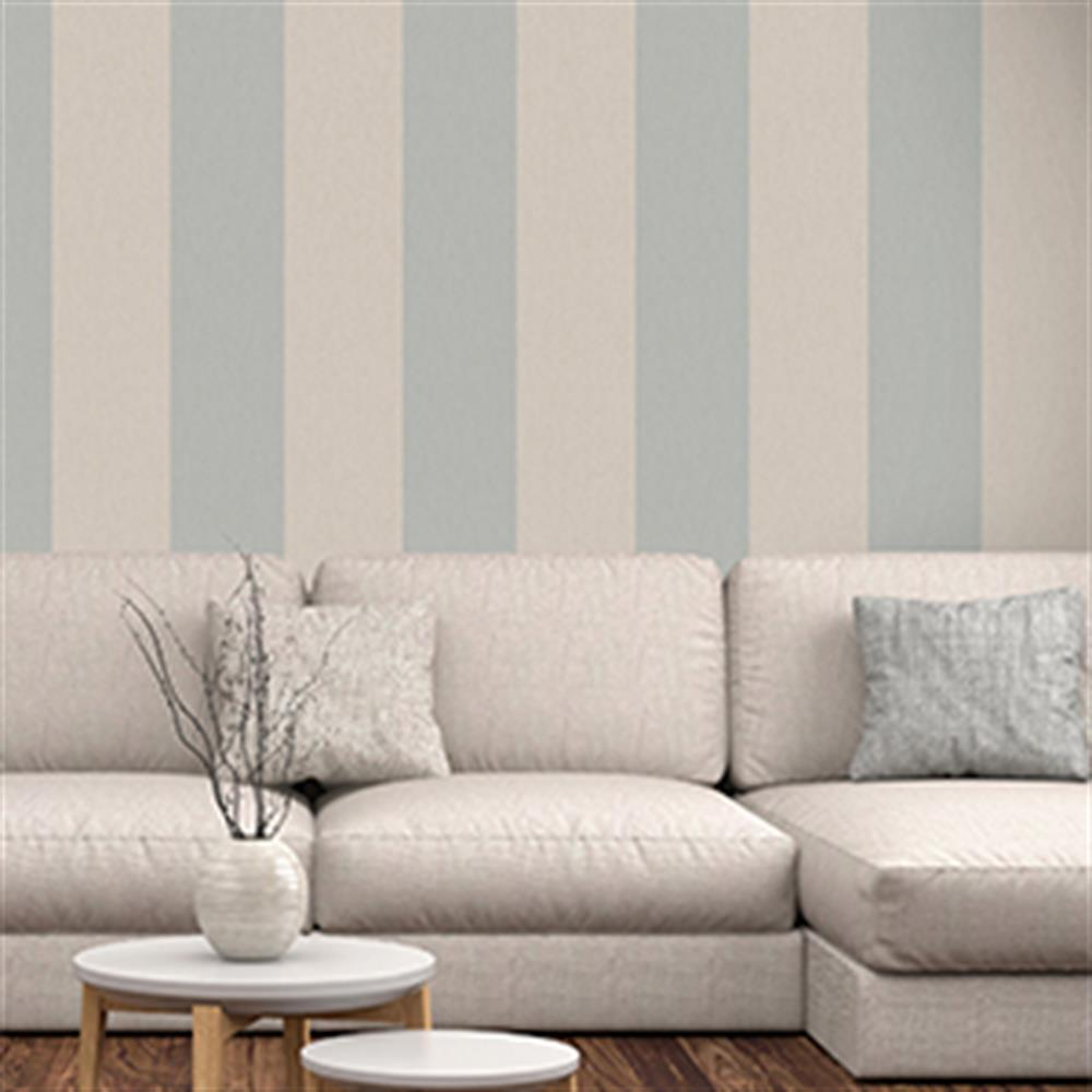 Picture of Statement Wallcovering: Harriet Stripe Teal/Cream