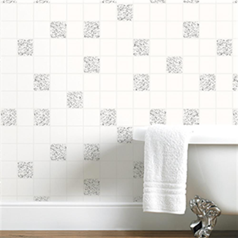 Picture of Tiling on a Roll: Quartz White & Silver Glitter Tile
