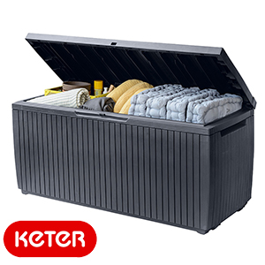 Buy Keter Springwood Outdoor Storage Box Wood Effect At Home Bargains