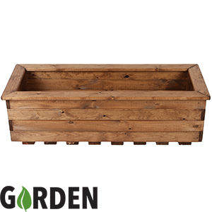 Buy Wooden Rectangular Garden Planter At Home Bargains