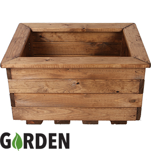 Buy Wooden Small Rectangle Garden Planter At Home Bargains
