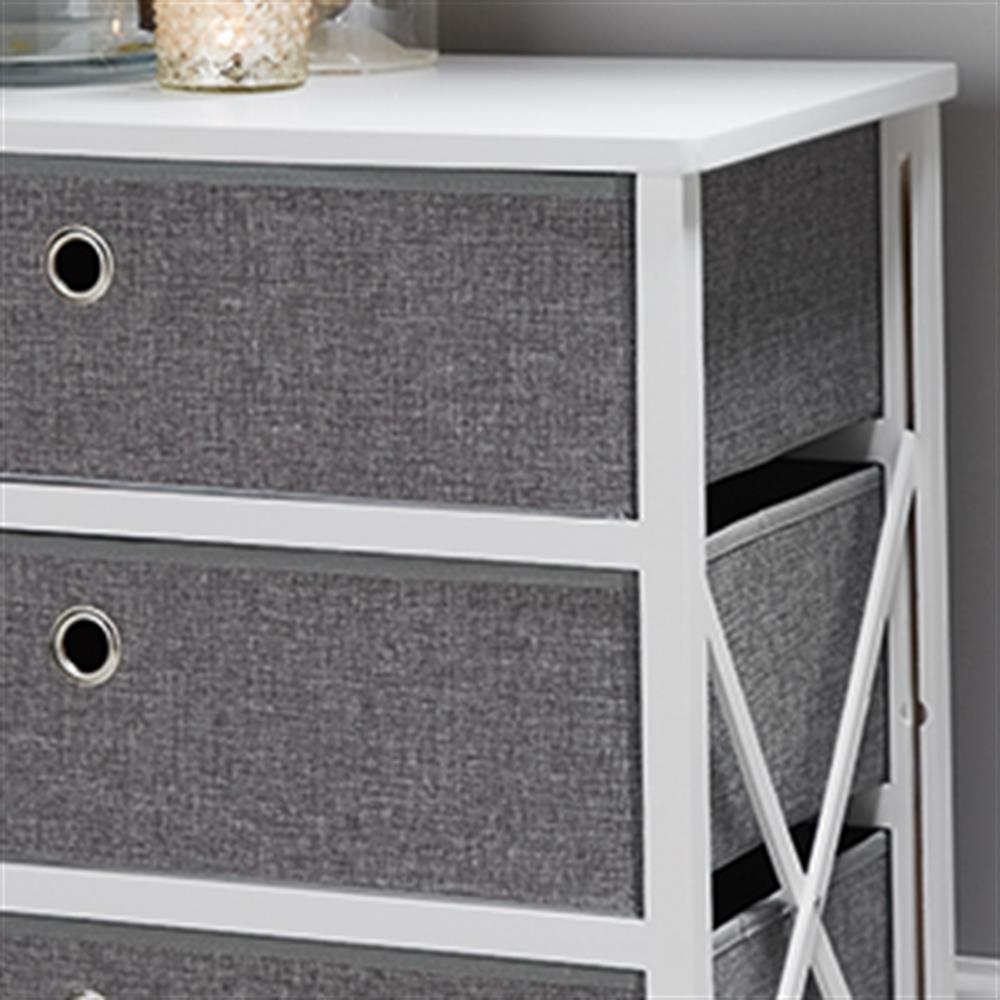 Picture of Folding Grey & White 3-Drawer Storage
