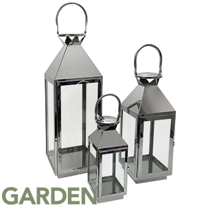 Buy Stainless Steel Lanterns Set Of 3 At Home Bargains