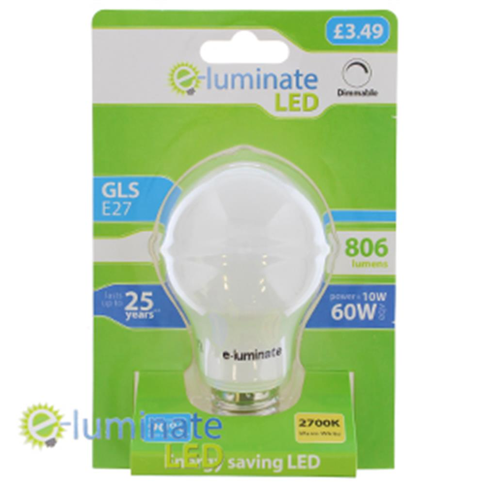 Picture of e-Luminate Dimmable LED GLS E27 Warm White (Case of 6)