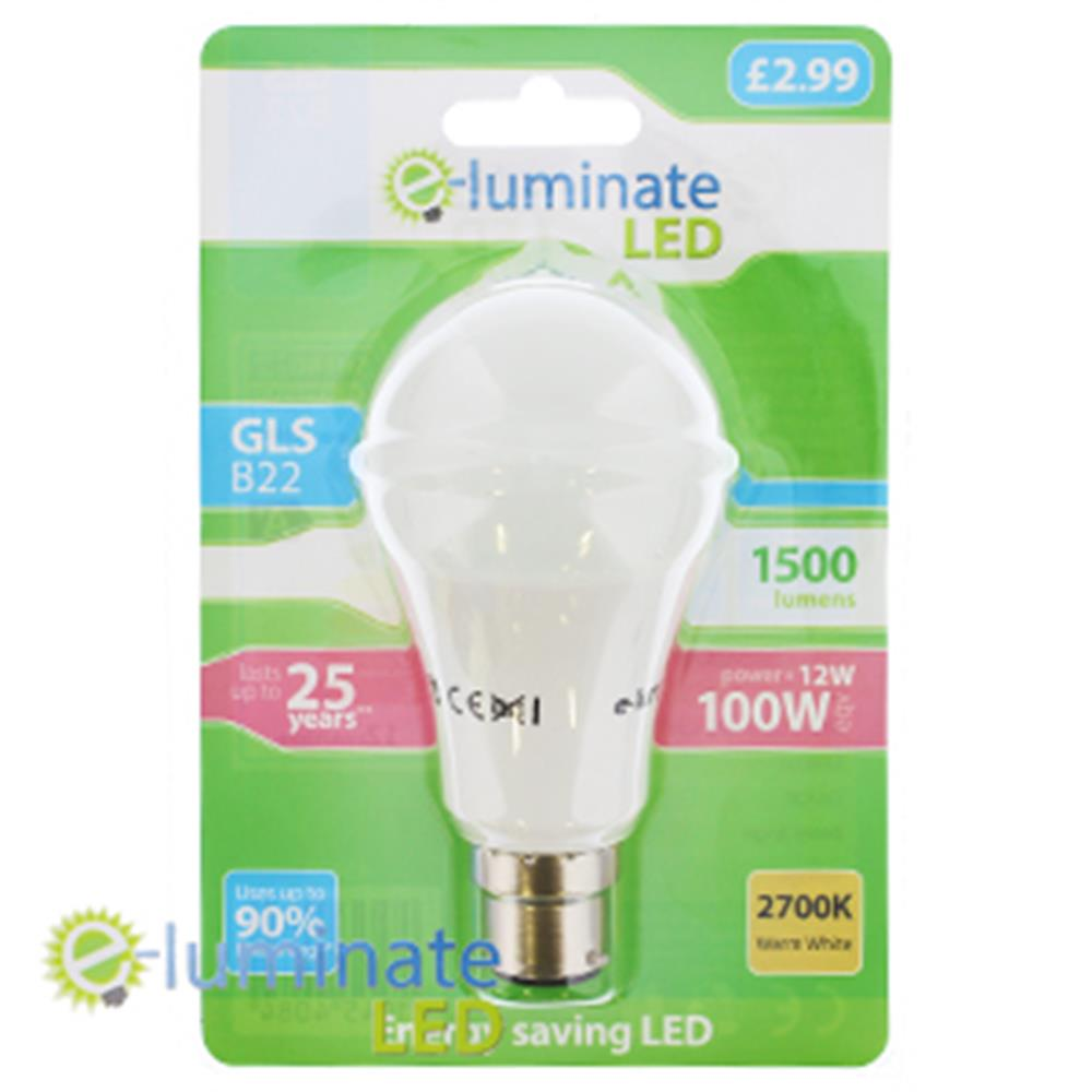 Picture of e-Luminate LED GLS B22 Warm White (Case of 6)