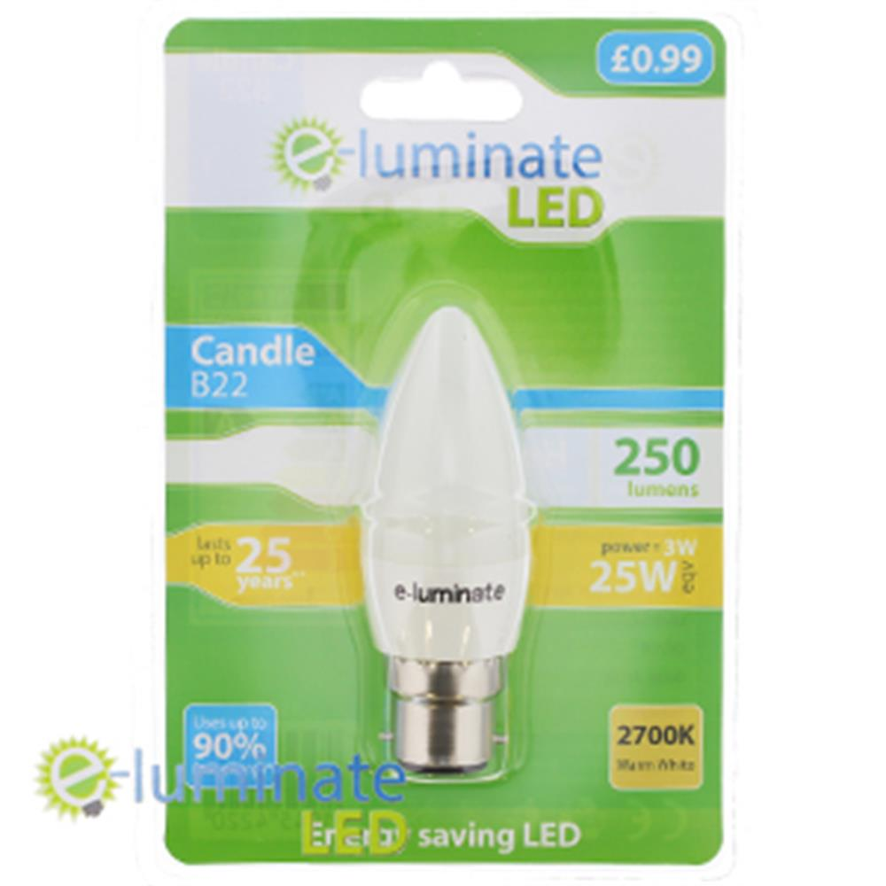 Picture of e-Luminate LED B22 Warm White Candle (Case of 6)