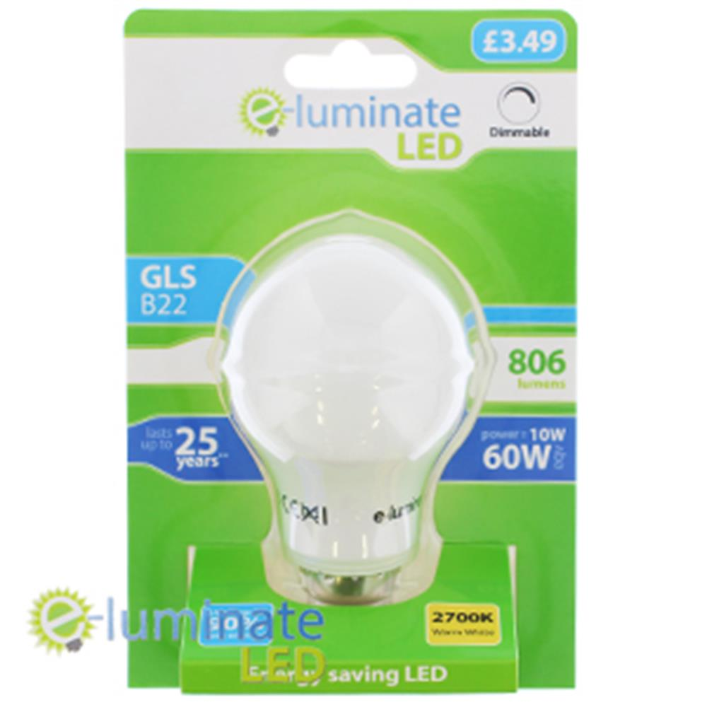 Picture of e-Luminate Dimmable LED GLS B22 Warm White (Case of 6)
