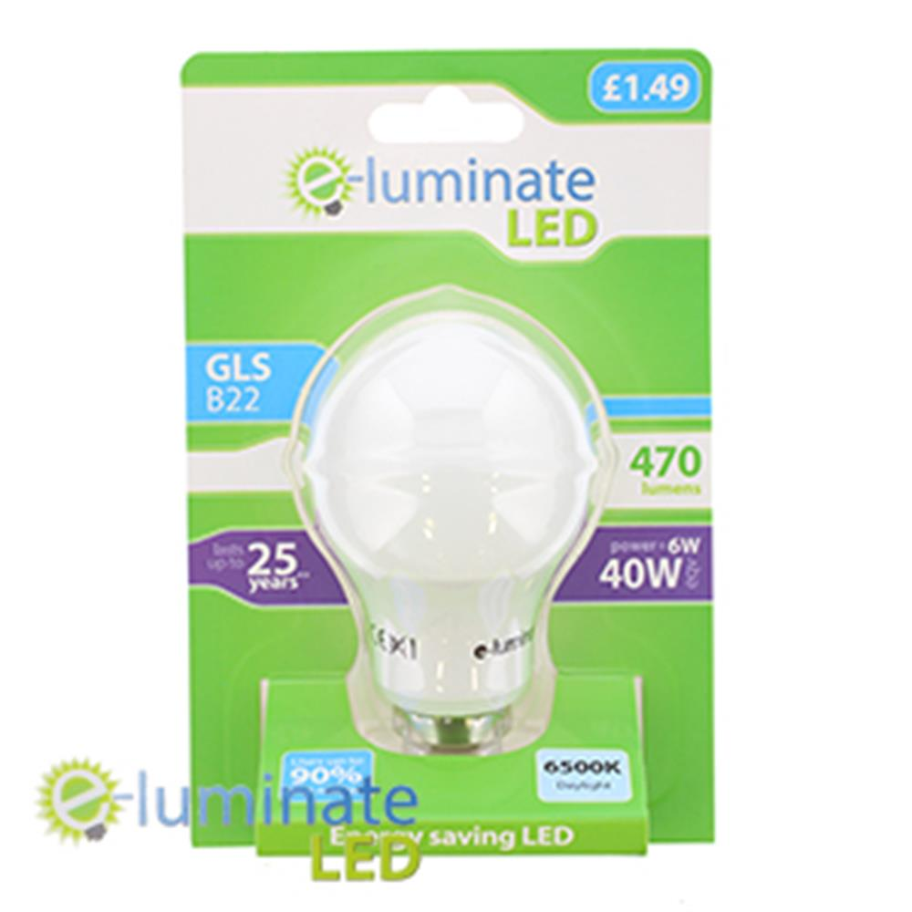 Picture of e-Luminate B22 470 Lumens Daylight LED (Case of 6)