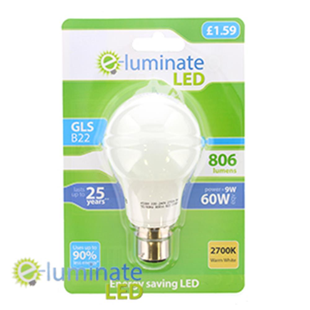 Picture of e-Luminate B22 806 Lumens Warm White LED (Case of 6)