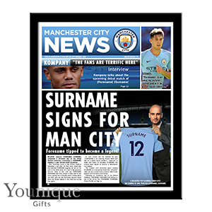 Picture of Personalised Man City Framed Newspaper