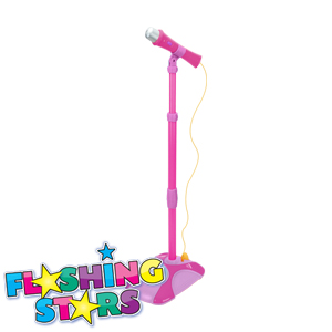 Picture of Flashing Stars Karaoke Stand with Flashing Disco Ball: Pink