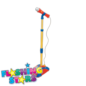 Picture of Flashing Stars Karaoke Stand with Flashing Disco Ball: Blue