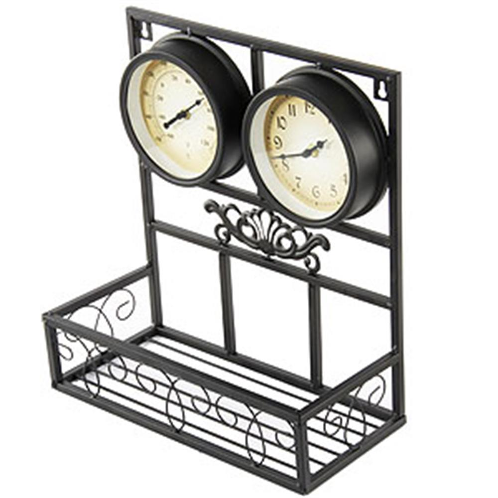 Buy Garden Wall Clock With Thermometer And Flower Box At
