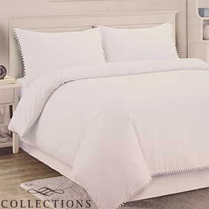 Picture of Home Collections: White Pom Pom Trim Duvet Set