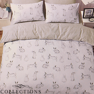 Picture of Home Collections: Run Rabbit Duvet Set (White)