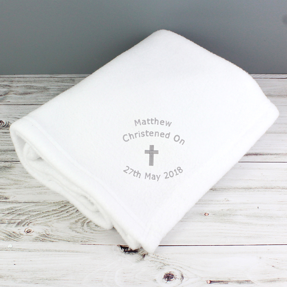 Picture of Personalised Christening Cross Blanket