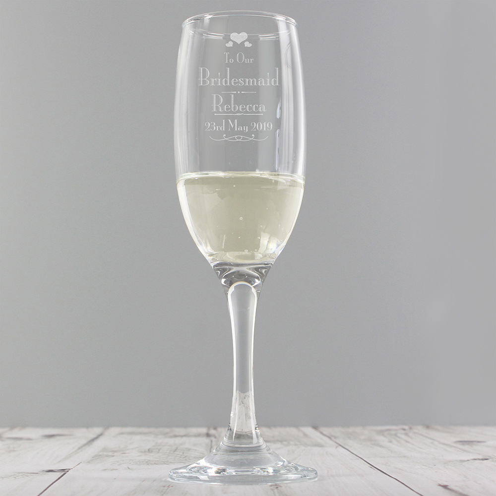 Picture of Personalised Bridesmaid Glass Flute