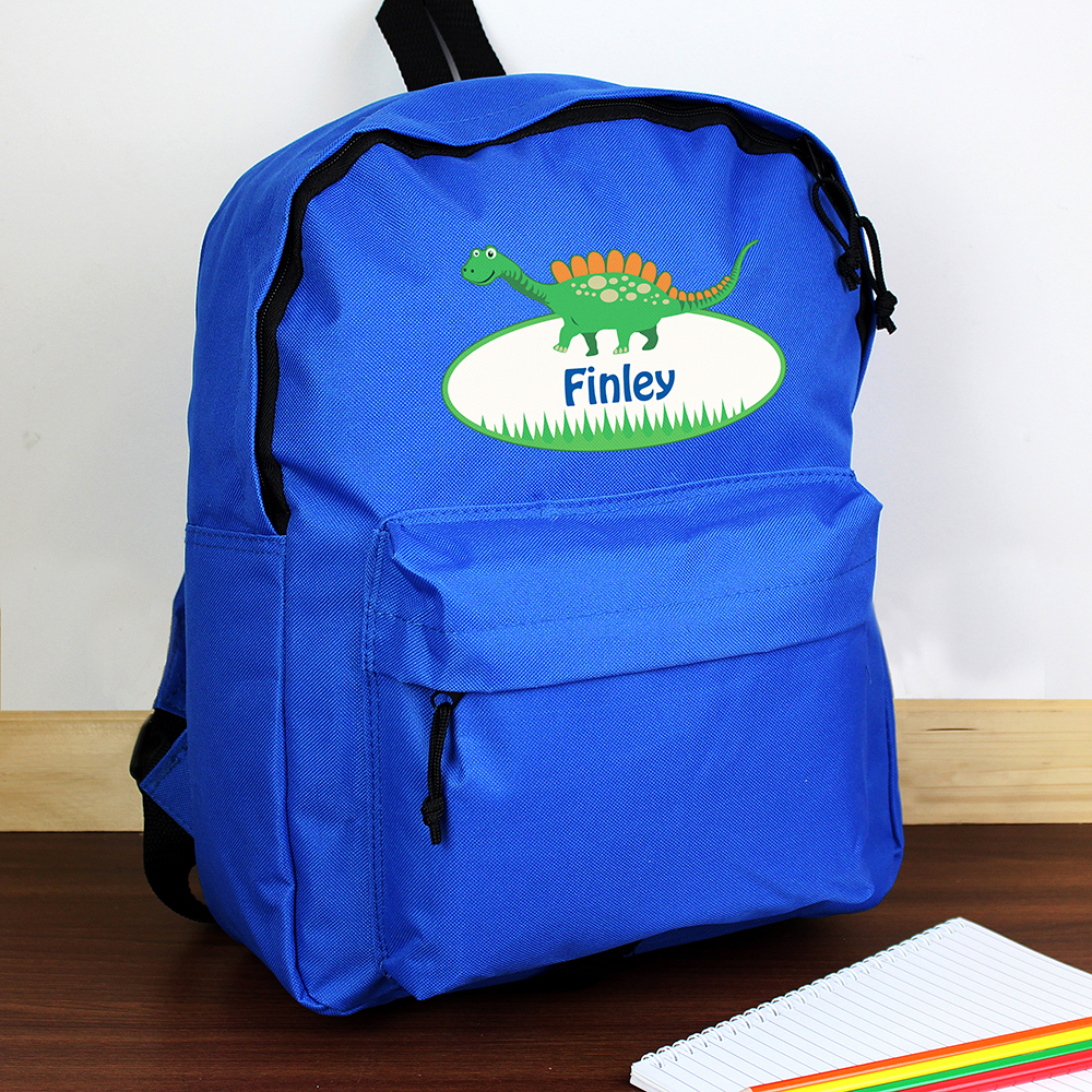 Picture of Personalised Dinosaur Blue Backpack