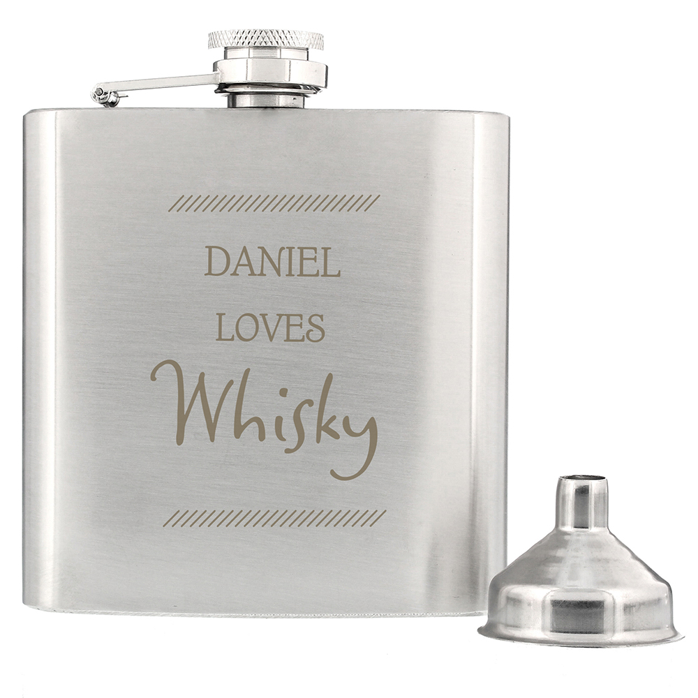 Picture of Personalised Classic Stainless Steel Hip Flask