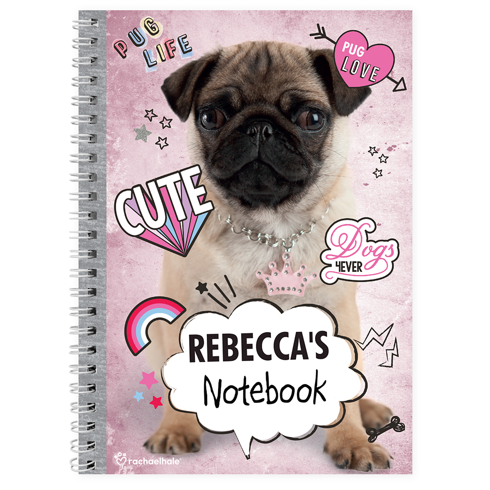 Picture of Personalised Rachael Hale Doodle Pug A5 Notebook