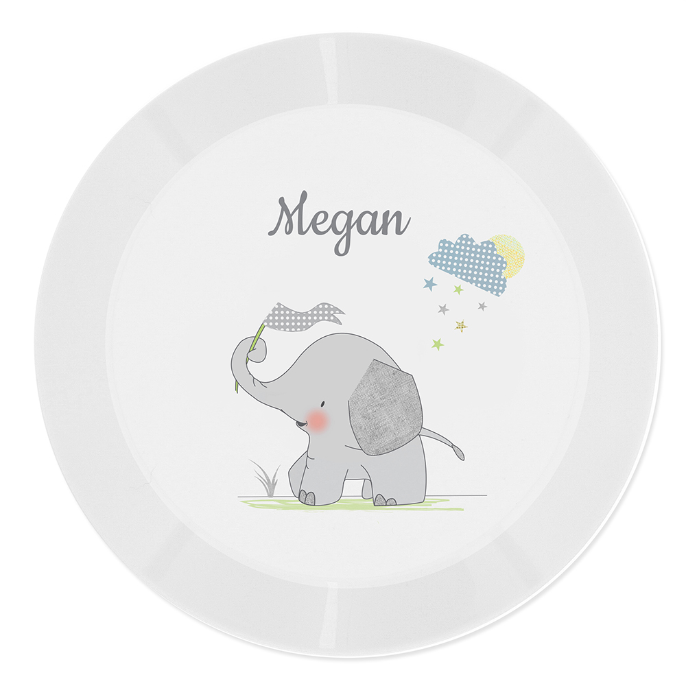 Picture of Personalised Hessian Elephant Plastic Plate
