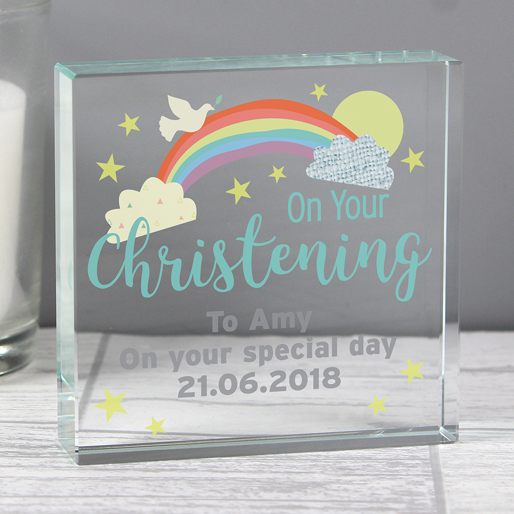 Picture of Personalised 'On Your Christening' Large Crystal Token